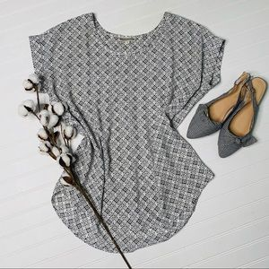 Pleione Medallion Print Cap Sleeved Blouse Top